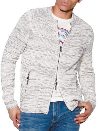 John Varvatos Men's Baptiste Zip-Front Sweater