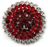 Avalaya Hot Red Crystal Corsage Brooch (Silver Tone)