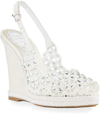 Rene Caovilla Embellished Laser-Cut Wedge Sandals