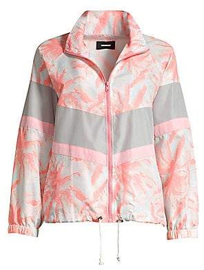 Monrow Women's Palm Print Windbreaker