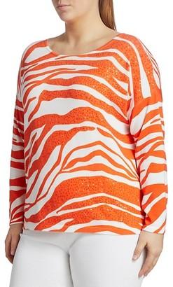 Joan Vass, Plus Size Sequin Animal Sweater