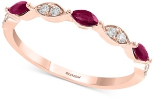 Effy Gemstone Bridal by Ruby (1/4 ct. t.w.) & Diamond (1/8 ct. t.w.) Band in 18k Rose Gold