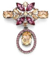 Oscar de la Renta Floral Navette Crystal Brooch