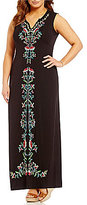 Chelsea & Theodore Plus Sleeveless Embroidered Maxi Dress
