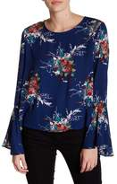 Lush Bell Sleeve Floral Print Blouse