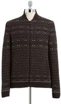 Black Brown 1826 Fairisle Zip Front Sweater