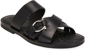 Salvatore Ferragamo Men's Atina Gancio Leather Slide Sandals