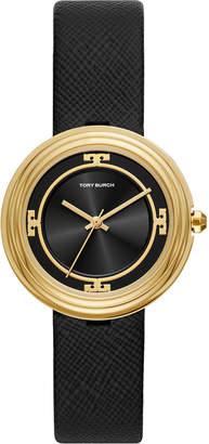 Tory Burch 34mm Bailey Watch w/ Saffiano Leather Strap, Gold/Black