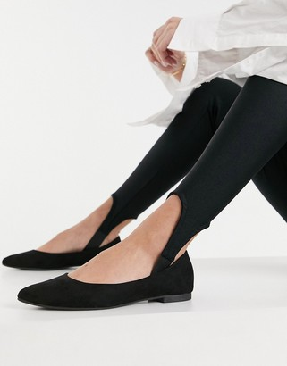 New Look pointed flat ballet pumps in black