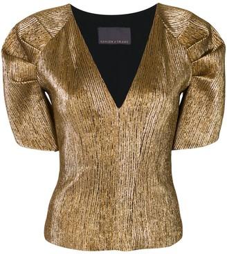 Ginger & Smart Metallic Puff Sleeve Top