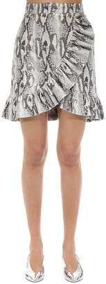 MSGM Ruffled Python Print Techno Mini Skirt