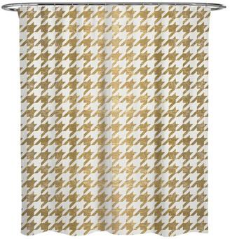 "Oliver Gal Golden Houndstooth"" Shower Curtain, 71""x74"""