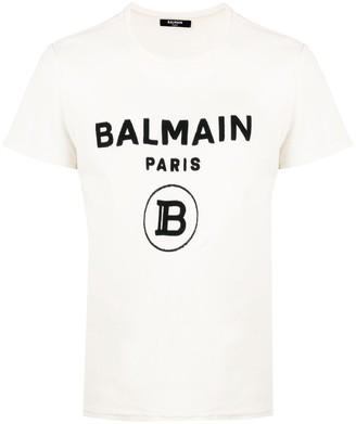 Balmain flocked logo-print T-shirt