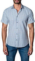 Jared Lang Woven Check Short Sleeve Trim Fit Shirt
