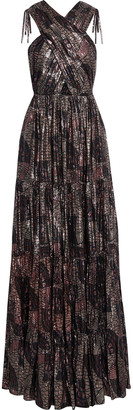 Ulla Johnson Ambrosia Pleated Printed Silk-blend Lame Gown