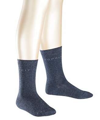Esprit Foot Logo 2-Pack Socks - 80% Cotton, (Navy Melange 6490), (Manufacturer size: 27-30), Pack of 2