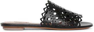 Alaia Laser cut leather slides