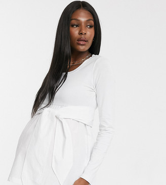 Mama Licious Mamalicious Maternity ribbed top with tie waist in white