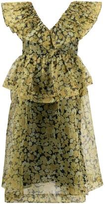 Ganni Floral-Print Ruffled Midi-Dress