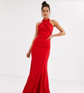 Chi Chi London Tall cross over halter neck maxi dress in red