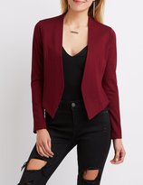Charlotte Russe Collarless Asymmetrical Cropped Blazer