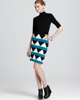 Knit Dress - Geo Pop Mock Turtleneck