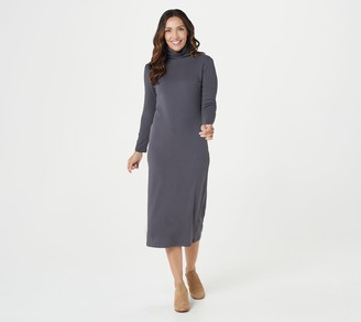 Women With Control Attitudes by Renee Regular Mock Neck Finespun Sheath Midi Dress