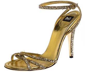 Dolce & Gabbana Gold Strappy Glitter and Leather Open Toe Ankle Strap Sandal Size 38