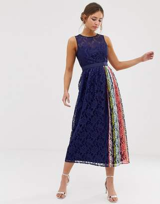 Little Mistress lace prom skater dress with contrast side stripe in navy
