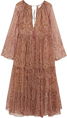 Zimmermann Realm Metallic Paisley-print Silk-georgette Dress