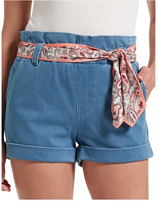 Hue Paperbag Waist Ultra Soft Denim High-Waist Shorts (Sail Blue Wash) Women's Shorts