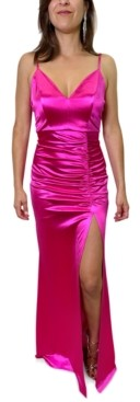 Emerald Sundae Juniors' V-Neck Ruched Gown