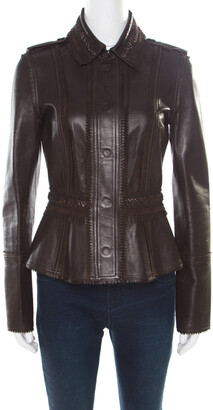 Burberry Brown Lamb Leather Fringed Trim Jacket S