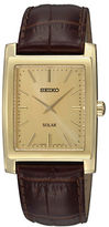 Seiko Mens Goldtone and Leather Solar Watch
