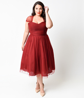 Unique Vintage Plus Size Burgundy Swiss Dot Garden State Dress