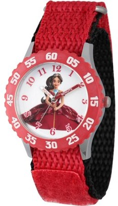 Disney Elena of Avalor Girls' Stainless Steel Time Teacher Watch, Red Bezel, Red Hook and Loop Nylon Strap with Black Backing