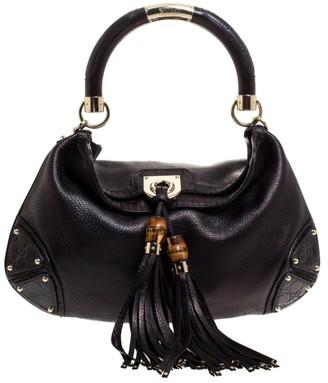 Gucci Metallic Black Leather Medium Babouska Indy Hobo
