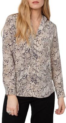 Rails Rebel Snakeskin Print Button-Up Silk Shirt