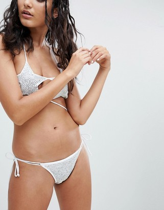 Jaded London Silver Micro Bikini Bottom