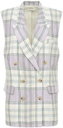Etoile Isabel Marant Ipegie Short Sleeve Check Linen Blazer