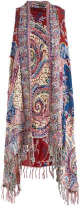 Raj Imports Women's Sweater Vests Burgundy - Burgundy & Blue Abstract Fringe-Hem Vest - Women