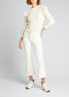 Frame Sofia Ruffle Cable-Knit Sweater