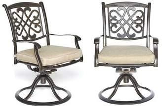 Fleur De Lis Living 2Piece Bistro Table Chairs Set, Cast Aluminum Dining Table Patio Glider Chairs Fleur De Lis Living
