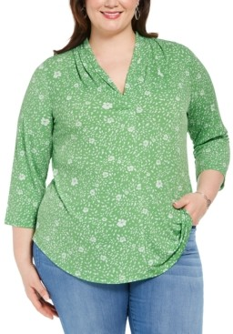 Charter Club Plus Size Pleat-Neck Top, Created for Macy's