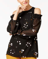 Alfani Cold-Shoulder Printed Top, Created for Macy's
