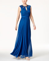 Adrianna Papell Beaded Keyhole A-Line Gown