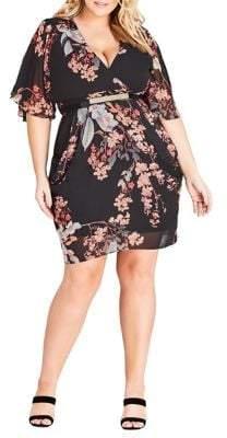 City Chic Plus Delilah Floral Belted Dress
