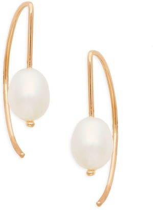 Saks Fifth Avenue 14K Rose Gold & 8MM White Round Freshwater Pearl Curved Threader Earrings