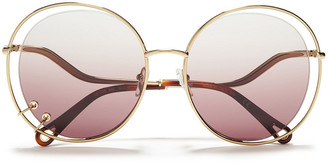 Chloé Round-frame Ring-embellished Gold-tone And Acetate Sunglasses