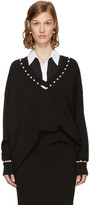 Givenchy Black Pearl V-neck Sweater